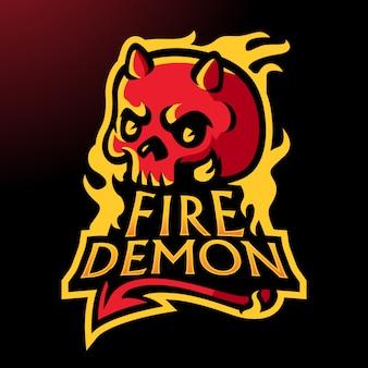 Logotipo de caveira de fogo de estilo clássico