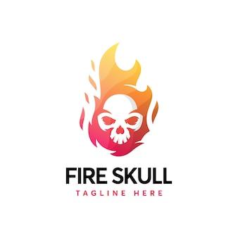 Logotipo de caveira de fogo minimalista moderno