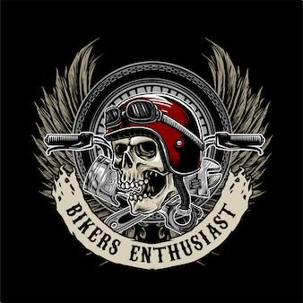Logotipo de caveira motociclista