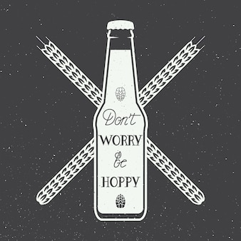 Logotipo de cerveja com mão lettering divertido citação de motivação