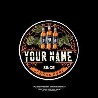 Logotipo de cerveja distintivo vintage