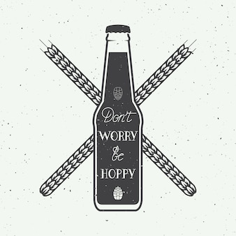 Logotipo de cerveja vintage com mão lettering divertido citação