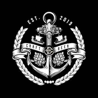 Logotipo de cervejas artesanais, ilustração vetorial hop, design de emblema