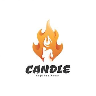 Logotipo de chamas de fogo luz de vela