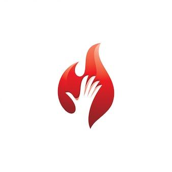 Logotipo de chamas de mão e fogo