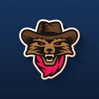 Logotipo de chapéu de cowboy de guaxinim