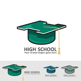 Logotipo de chapéu de formatura do ensino médio