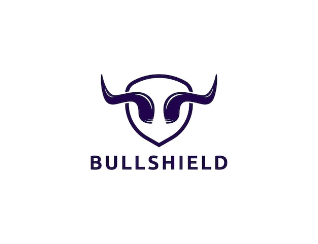 Logotipo de chifre de touro com design de escudo