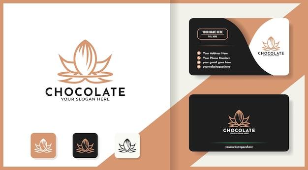 Logotipo de chocolate luxuoso e design de cartão de visita