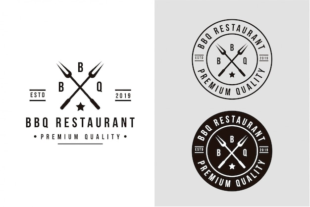 Logotipo de churrasco vintage grill com forquilha de churrasco cruzada