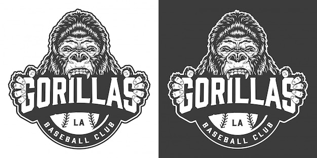 Logotipo de clube de beisebol gorilas vintage