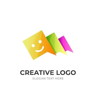 Logotipo de combinação com estilo colorido 3d