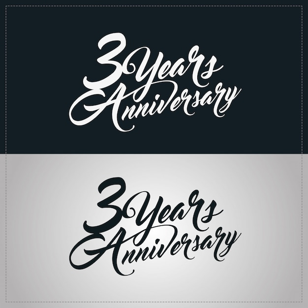 Logotipo de comemoração de aniversário de 3 anos