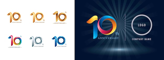 Logotipo de comemoração de dez anos de aniversário, letras numéricas estilizadas de origami, logotipo de fitas de torção
