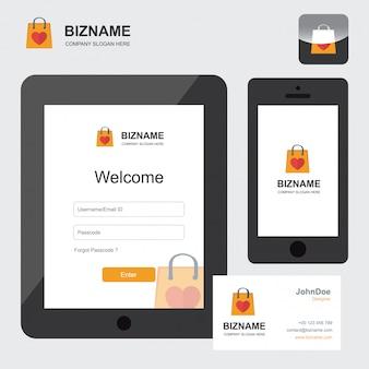 Logotipo de comércio eletrônico e design de aplicativo móvel