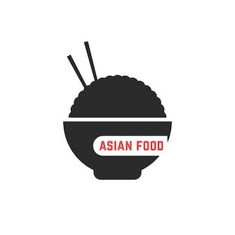 Logotipo de comida asiática simples. conceito de refeição take away, foodie, gastronomia coreana, sobremesa, lanche vegetariano, delicioso. ilustração em vetor design de logotipo moderno tendência estilo plano no fundo branco