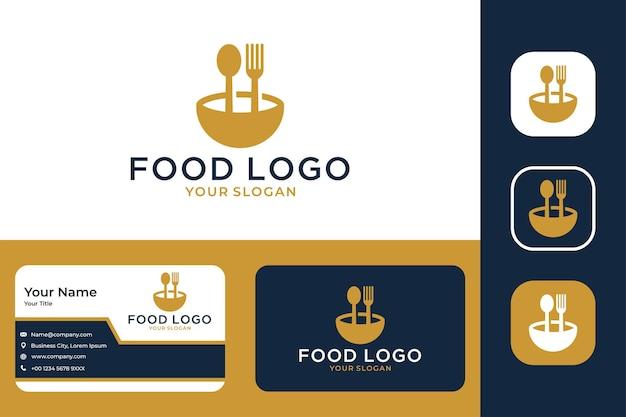 Logotipo de comida com design de logotipo de garfo e colher e cartão de visita