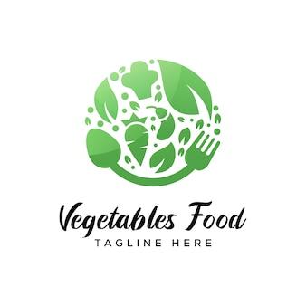 Logotipo de comida de legumes, logotipo de alimentos à base de plantas vetor premium