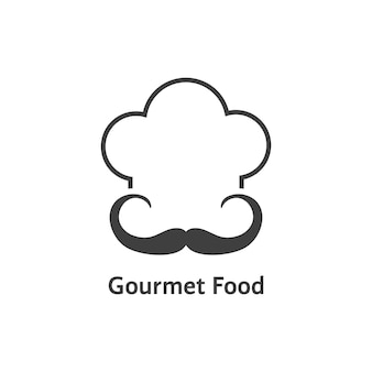 Logotipo de comida gourmet preta. conceito de chapelaria, distintivo retrô, hobby, elegante, traje, carimbo, alta cozinha. isolado no fundo branco. ilustração em vetor design de logotipo de chef moderno tendência estilo plano