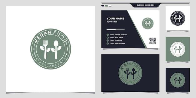 Logotipo de comida vegan para restaurante com conceito de espaço negativo. ícone do logotipo e design de cartão de visita premium vector