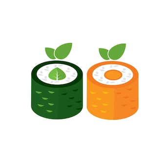 Logotipo de comida vegana orgânica de sushi