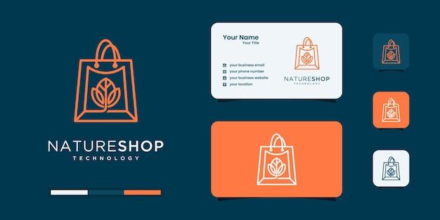Logotipo de compras com modelos de design de logotipo de conceito de bolsa e folha