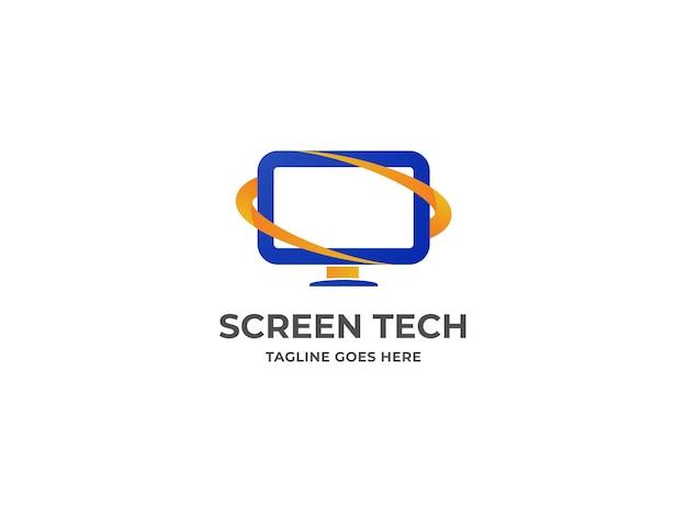 Logotipo de computador mínimo e design de logotipo de tecnologia premium vector