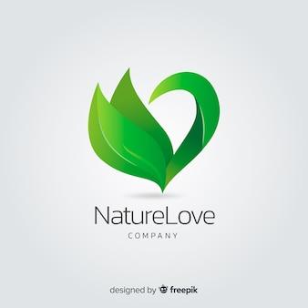 Logotipo de conceito de natureza gradiente plana
