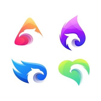 Logotipo de conjunto gradiente de águia