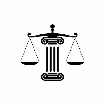 Logotipo de consideração de advogado e direito