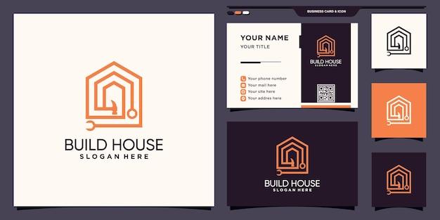 Logotipo de construção de casa com martelo e chave em estilo linear e design de cartão de visita premium vector