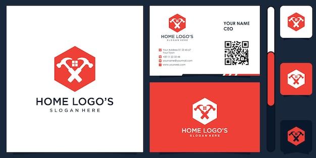 Logotipo de construção de casa com vetor premium de design de cartão de visita