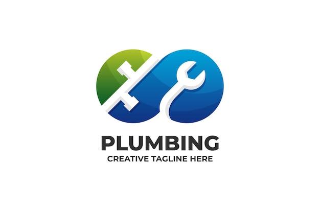 Logotipo de construção de conserto de encanamento