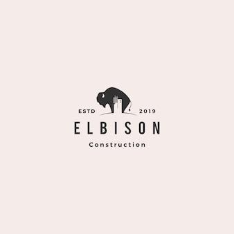 Logotipo de construção de construção de bisonte