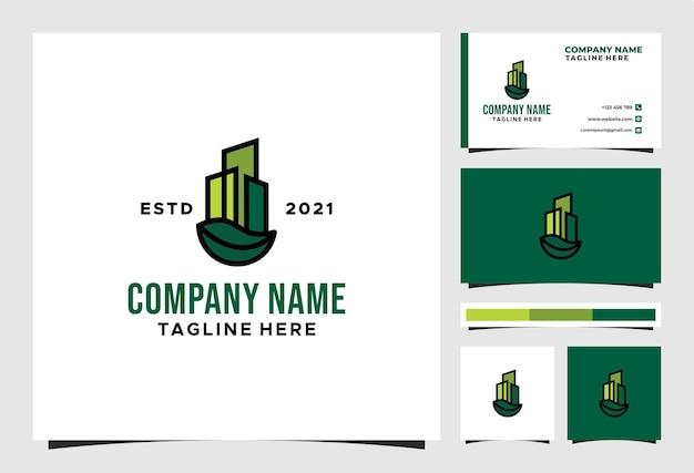 Logotipo de construção de edifícios de cidade ecológica natural e design de vetor de cartão de visita