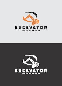 Logotipo de construção de escavadeira