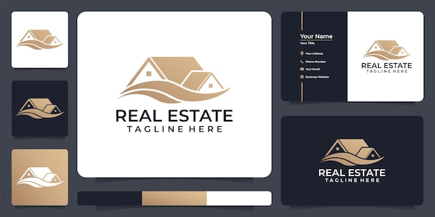 Logotipo de construção de imóveis com design de cartão de visita