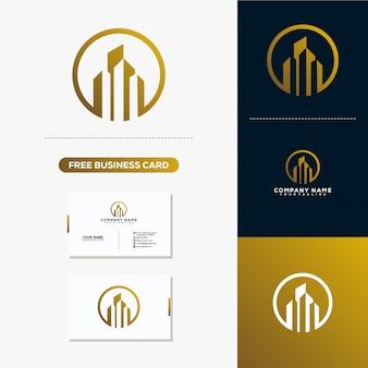 Logotipo de construção de imóveis e modelo de vetor de cartão