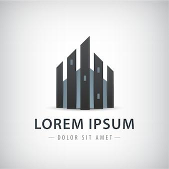 Logotipo de construção de torres altas isolado