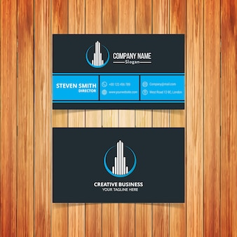 Logotipo de construção minimal cartão de visita corporativo com dark e light blue color