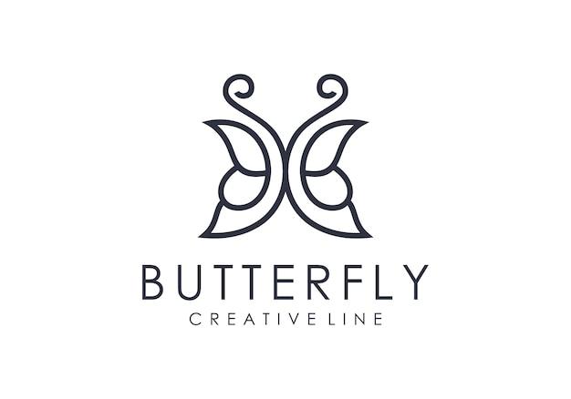 Logotipo de contorno borboleta minimalista