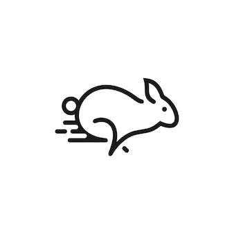 Logotipo de contorno de coelho minimalista