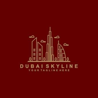 Logotipo de contorno do horizonte de dubai