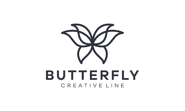Logotipo de contorno fantasia borboleta