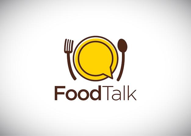 Logotipo de conversa de comida, vetor logo template