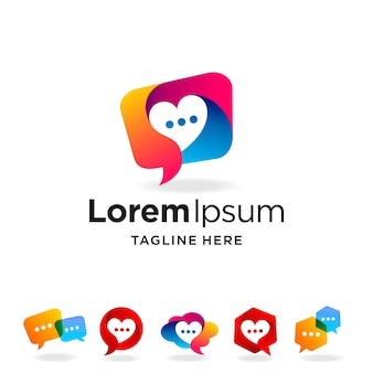 Logotipo de conversa definido com conceito múltiplo