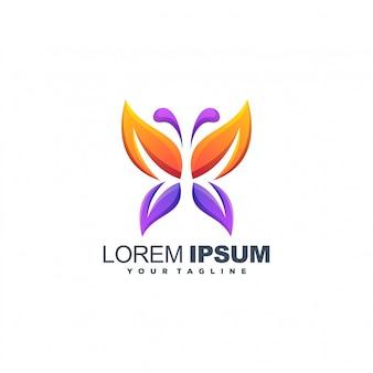 Logotipo de cor de folha de borboleta