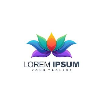 Logotipo de cor de lótus flor