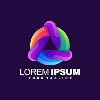 Logotipo de cor de tecnologia de círculo