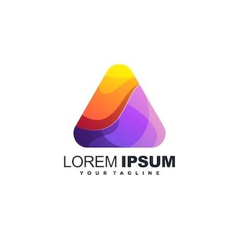 Logotipo de cor gradiente abstrata triângulo